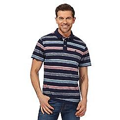 Mantaray - Big and tall navy striped print polo shirt