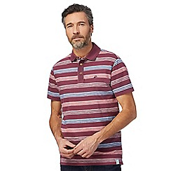 Mantaray - Big and tall dark red striped print polo shirt