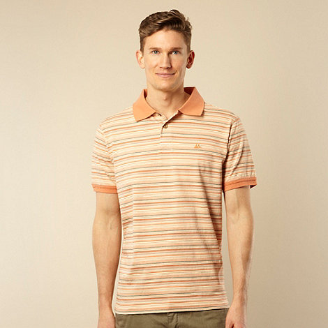 Mantaray - Orange textured striped polo shirt