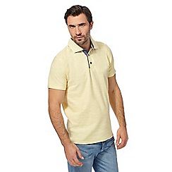 Mantaray - Yellow birdseye textured polo shirt