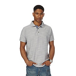Mantaray - Big and tall light grey birdseye textured polo shirt