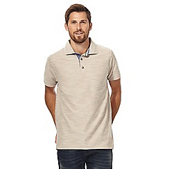 Mantaray - Big and tall beige birdseye textured polo shirt