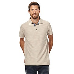 Mantaray - Big and tall beige birdseye textured polo shirt