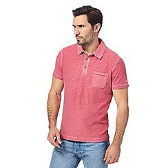 Mantaray - Big and tall dark pink vintage wash polo shirt
