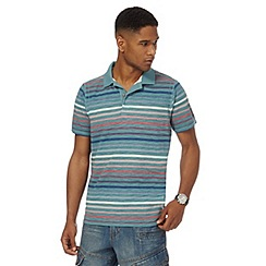 Mantaray - Big and tall turquoise striped polo shirt