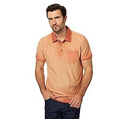 Mantaray - Big and tall dark orange oil wash-effect polo shirt