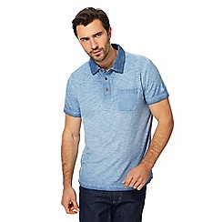 Mantaray - Blue oil wash-effect polo shirt