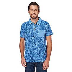 Mantaray - Blue vintage wash feather print polo shirt