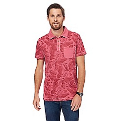 Mantaray - Big and tall maroon vintage wash feather print polo shirt