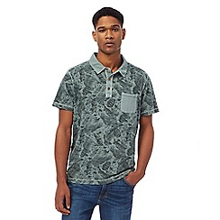 Mantaray - Big and tall khaki vintage wash feather print polo shirt