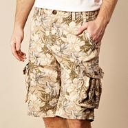 Brown floral cargo shorts
