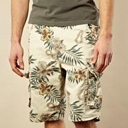 Big and tall natural Hawaiian floral shorts