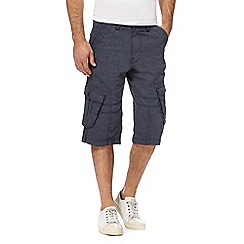 Mantaray - Big and tall navy pin dot cargo shorts