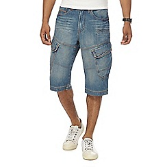 Mantaray - Big and tall blue cropped cargo shorts
