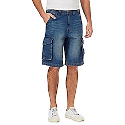 Mantaray - Big and tall blue denim cargo shorts