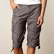 Big and tall dark grey checked cargo shorts