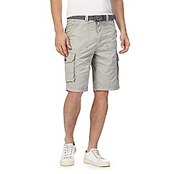 Mantaray - Big and tall grey belted cargo shorts