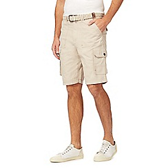 Mantaray - Big and tall natural belted cargo shorts
