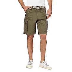 Mantaray - Khaki belted cargo shorts