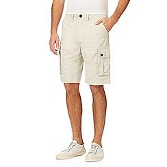 Mantaray - Big and tall natural linen blend cargo shorts