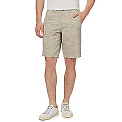Mantaray - Taupe leaf print chino shorts