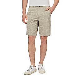 Mantaray - Big and tall taupe leaf print chino shorts