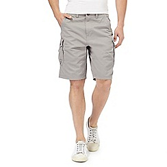 Mantaray - Big and tall grey basketweave cargo shorts