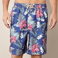 Blue tropical floral board shorts