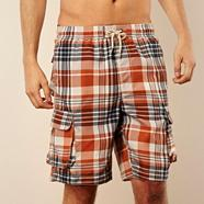 Big and tall orange checked cargo swim shorts