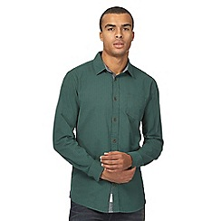 Mantaray - Big and tall green basketweave regular shirt