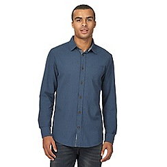 Mantaray - Big and tall navy basketweave regular shirt