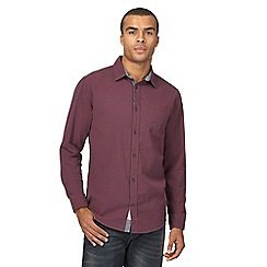 Mantaray - Big and tall purple basketweave regular shirt