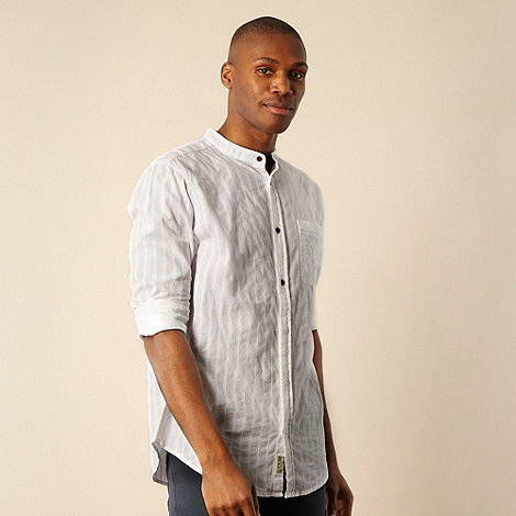 Mantaray - Big and tall white textured striped grandad neck shirt