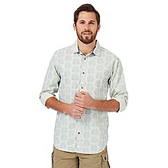 Mantaray - Light blue palm tree print regular fit shirt