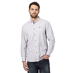 Mantaray - Big and tall purple textured striped regular shirt