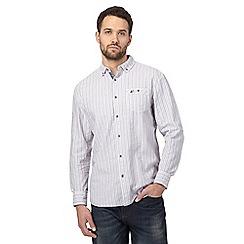 Mantaray - Purple textured striped regular shirt