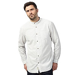 Mantaray - Big and tall white textured striped regular fit shirt