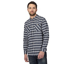 Mantaray - Big and tall navy checked regular shirt