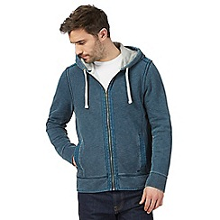 Mantaray - Big and tall dark turquoise pique zip-through hoodie