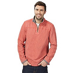 Mantaray - Big and tall orange pique zip neck sweater