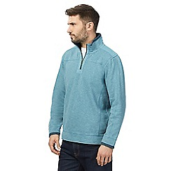 Mantaray - Big and tall blue pique zip neck sweater