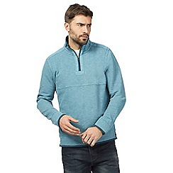 Mantaray - Blue pique zip neck sweater