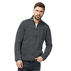 Mantaray - Big and tall dark grey pique zip through sweater