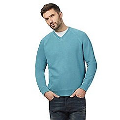 Mantaray - Big and tall turquoise v neck sweater