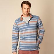 Blue textured striped zip neck sweater