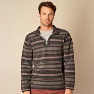 Big and tall grey textured striped zip neck sweater