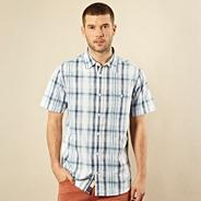Big and tall blue textured checked shirt