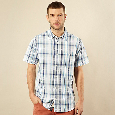 Mantaray - Blue textured checked shirt