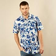 Big and tall blue bold floral short sleeved shirt