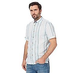 Mantaray - Dark turquoise striped print shirt